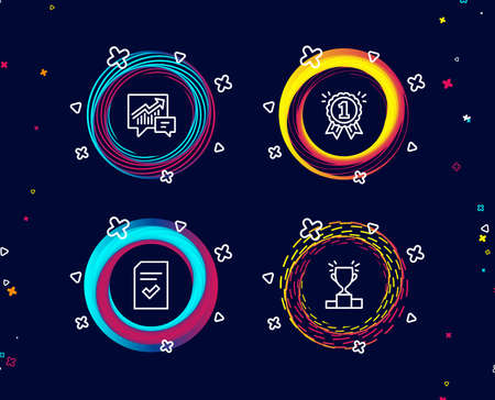 Set of Accounting, Checked file and Reward icons. Winner podium sign. Supply and demand, Correct document, First place. Competition results.  Circle banners with line icons. Gradient colors shapes Illustration