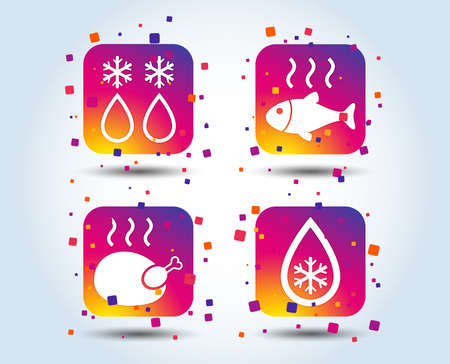 Defrosting drop and snowflake icons. Hot fish and chicken signs. From ice to water symbol. Colour gradient square buttons. Flat design concept. Vector