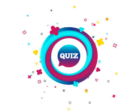 Quiz speech bubble sign icon. Questions and answers game symbol. Colorful button with icon. Geometric elements. Vector
