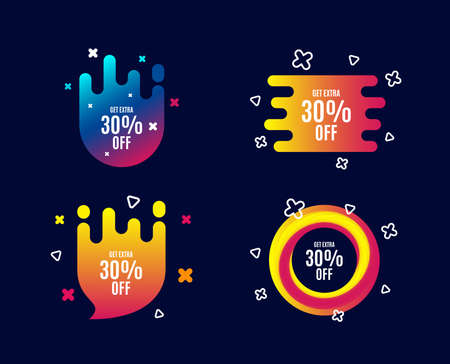 Get Extra 30% off Sale. Discount offer price sign. Special offer symbol. Save 30 percentages. Sale banners. Gradient colors shape. Abstract design concept. Vector Çizim