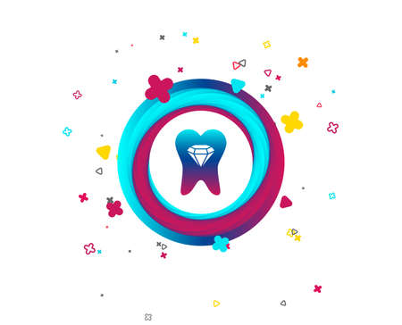 Tooth crystal icon. Tooth jewellery sign. Dental prestige symbol. Colorful button with icon. Geometric elements. Vector