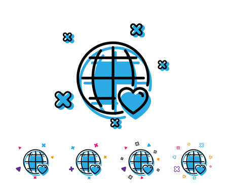 International Love line icon. Heart with Globe symbol. Valentines day sign. Line icon with geometric elements. Bright colourful design. Vector