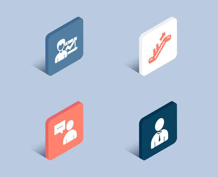 Set of Escalator, Success business and Users chat icons. Human sign. Elevator, Growth chart, Communication concept. Person profile.  3d isometric buttons. Flat design concept. Vector Ilustração