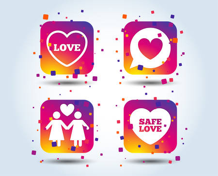 Lesbians couple sign. Speech bubble with heart icon. Female love female. Heart symbol. Colour gradient square buttons. Flat design concept. Vector Illustration