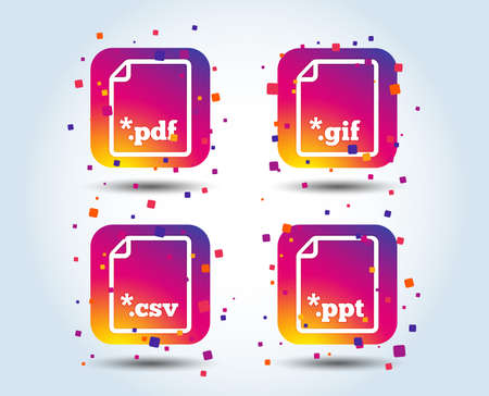 Download document icons. File extensions symbols. PDF, GIF, CSV and PPT presentation signs. Colour gradient square buttons. Flat design concept. Vector Illustration