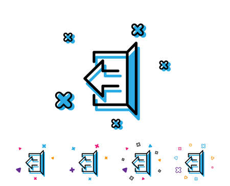 Logout arrow line icon. Sign out symbol. Navigation pointer. Line icon with geometric elements. Bright colourful design. Vector