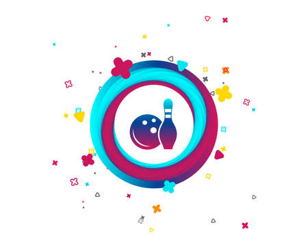 Bowling game sign icon. Ball with pin skittle symbol. Colorful button with icon. Geometric elements. Vector