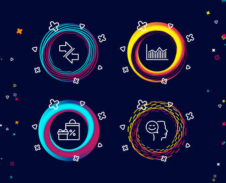 Set of Shopping, Synchronize and Money diagram icons. Good mood sign. Gifts and sales, Communication arrows, Currency diagram. Positive thinking.  Circle banners with line icons. Vector