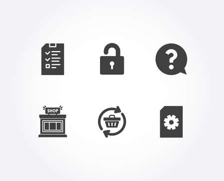 Set of Shop, Interview and Lock icons. Refresh cart, Question mark and File management signs. Store, Checklist file, Private locker. Online shopping, Help support, Doc with cogwheel. Vector
