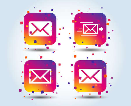 Mail envelope icons. Message delivery symbol. Post office letter signs. Colour gradient square buttons. Flat design concept. Vector
