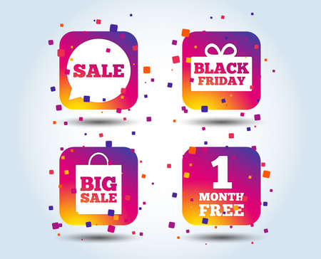 Sale speech bubble icon. Black friday gift box symbol. Big sale shopping bag. First month free sign. Colour gradient square buttons. Flat design concept. Vector