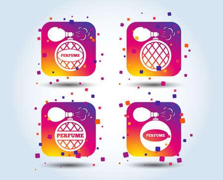 Perfume bottle icons. Glamour fragrance sign symbols. Colour gradient square buttons. Flat design concept. Vector
