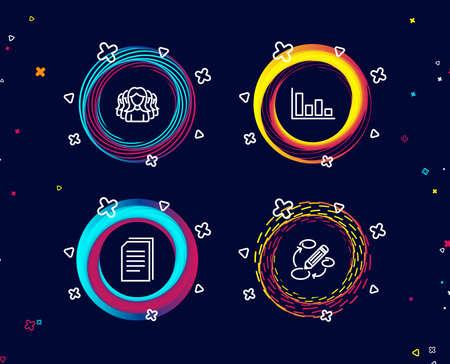 Set of Histogram, Copy files and Women group icons. Keywords sign. Economic trend, Copying documents, Lady service. Marketing strategy.  Circle banners with line icons. Gradient colors shapes. Vector