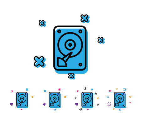 HDD icon. Hard disk storage sign. Hard drive memory symbol. Line icon with geometric elements. Bright colourful design. Vector