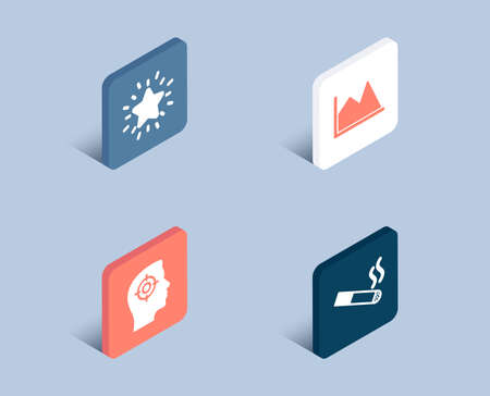 Set of Line chart, Recruitment and Rank star icons. Smoking sign. Financial graph, Headhunter aim, Best result. Cigarette.  3d isometric buttons. Flat design concept. Vector Ilustração