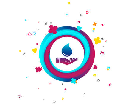 Water drop and hand sign. Save water symbol. Colorful button with icon. Geometric elements. Vector