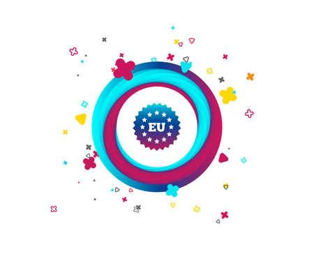 European union icon. EU stars symbol. Colorful button with icon. Geometric elements. Vector 일러스트