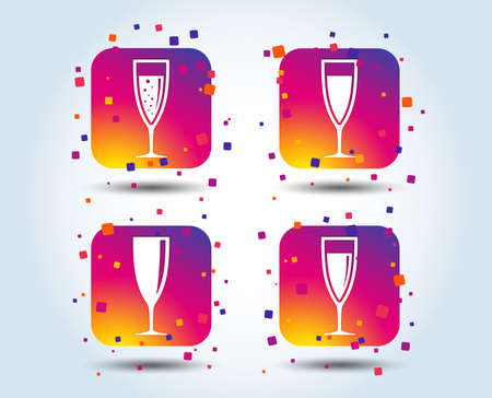 Champagne wine glasses icons. Alcohol drinks sign symbols. Sparkling wine with bubbles. Colour gradient square buttons. Flat design concept. Vector