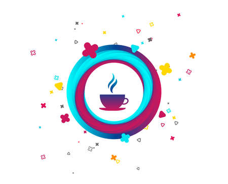 Coffee cup sign icon. Hot coffee button. Hot tea drink with steam. Colorful button with icon. Geometric elements. Vector Ilustrace