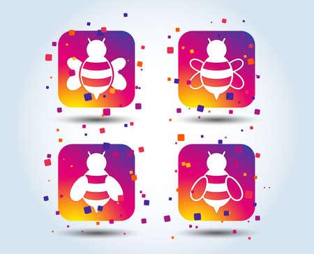 Honigbienen-Symbole. Hummel-Symbole. Fliegende Insekten mit Stachelzeichen. Quadratische Schaltflächen mit Farbverlauf. Flaches Design-Konzept. Vektor