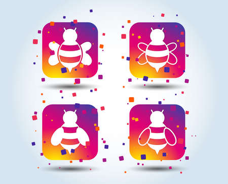 Honey bees icons. Bumblebees symbols. Flying insects with sting signs. Colour gradient square buttons. Flat design concept. Vector