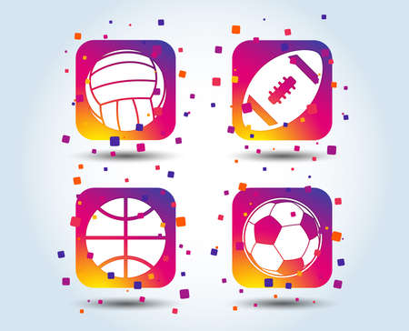Sport balls icons. Volleyball, Basketball, Soccer and American football signs. Team sport games. Colour gradient square buttons. Flat design concept. Vector