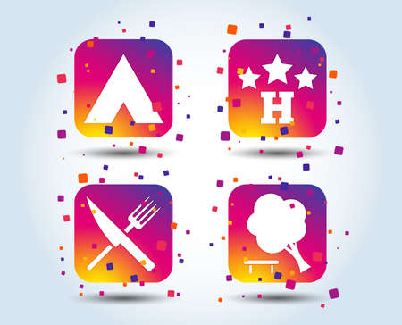 Food, hotel, camping tent and tree icons. Knife and fork. Break down tree. Road signs. Colour gradient square buttons. Flat design concept. Vector