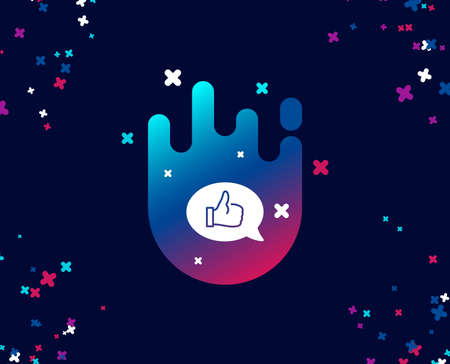 Positive feedback simple icon. Communication symbol. Speech bubble sign. Cool banner with icon. Abstract shape with gradient. Vector Ilustrace