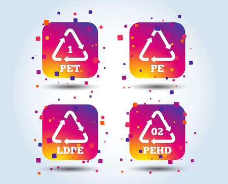PET, Ld-pe and Hd-pe icons. High-density Polyethylene terephthalate sign. Recycling symbol. Colour gradient square buttons. Flat design concept. Vector Illustration
