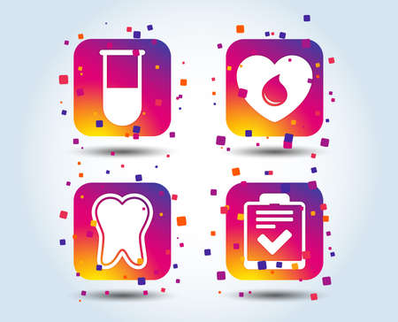 Medical icons. Tooth, test tube, blood donation and checklist signs. Laboratory equipment symbol. Dental care. Colour gradient square buttons. Flat design concept. Vector Standard-Bild - 106372195