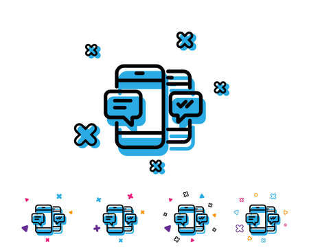 Phone Message line icon. Mobile chat sign. Conversation or SMS symbol. Line icon with geometric elements. Bright colourful design. Vector Çizim