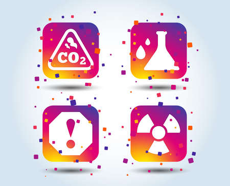 Attention and radiation icons. Chemistry flask sign. CO2 carbon dioxide symbol. Colour gradient square buttons. Flat design concept. Vector Ilustrace