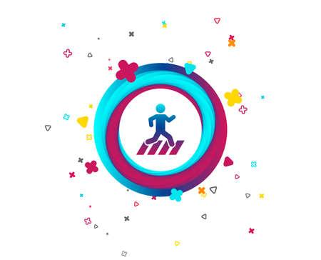 Crosswalk icon. Crossing street sign. Colorful button with icon. Geometric elements. Vector Illusztráció