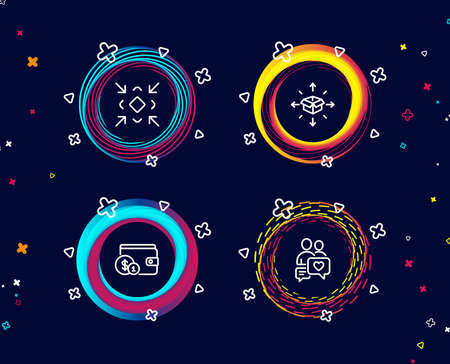 Set of Buying accessory, Minimize and Parcel delivery icons. Dating chat sign. Wallet with coins, Small screen, Logistics service. People love.  Circle banners with line icons. Gradient colors shapes