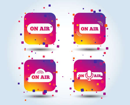 On air icons. Live stream signs. Microphone symbol. Colour gradient square buttons. Flat design concept. Vector