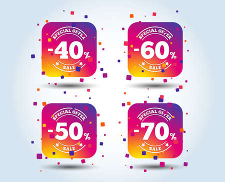 Sale discount icons. Special offer stamp price signs. 40, 50, 60 and 70 percent off reduction symbols. Colour gradient square buttons. Flat design concept. Vector Foto de archivo - 111102673