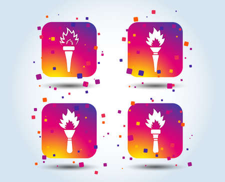 Torch flame icons. Fire flaming symbols. Hand tool which provides light or heat. Colour gradient square buttons. Flat design concept. Vector