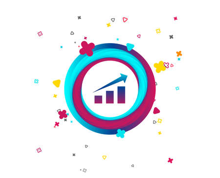 Chart with arrow sign icon. Success diagram symbol. Statistics. Colorful button with icon. Geometric elements. Vector Ilustração