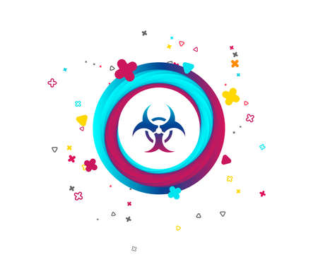Biohazard sign icon. Danger symbol. Colorful button with icon. Geometric elements. Vector