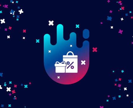 Gift box with Shopping bag simple icon. Present or Sale sign. Birthday Shopping with Discounts symbol. Package in Gift Wrap. Cool banner with icon. Abstract shape with gradient. Vector