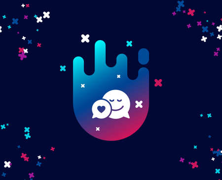Comic speech bubble with Smile simple icon. Chat emotion with heart sign. Cool banner with icon. Abstract shape with gradient. Vector Illustration