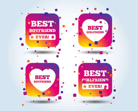 Best boyfriend and girlfriend icons. Heart love signs. Award symbol. Colour gradient square buttons. Flat design concept. Vector