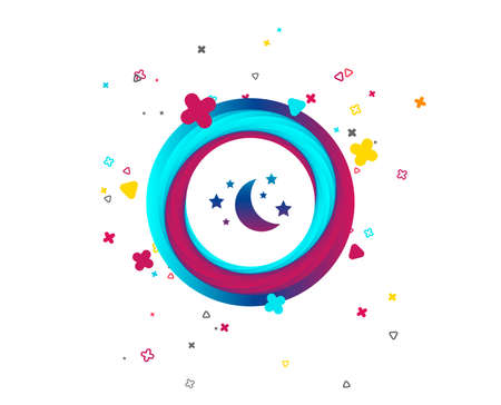 Moon and stars icon. Sleep dreams symbol. Night or bed time sign. Colorful button with icon. Geometric elements. Vector Vectores
