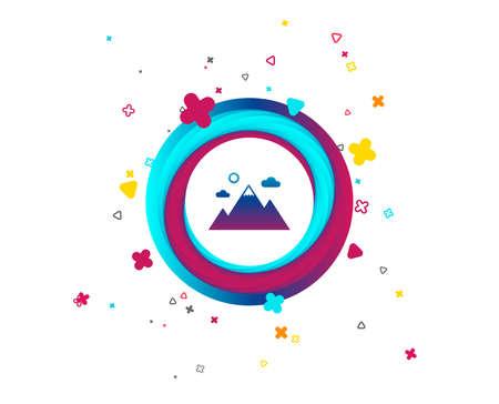 Icône de la montagne. Signe de sport d'alpinisme. Concept de motivation de leadership. Bouton coloré avec icône. Éléments géométriques. Vecteur