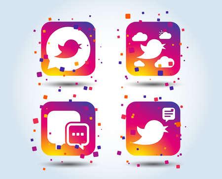 Birds icons. Social media speech bubble. Short messages chat symbol. Colour gradient square buttons. Flat design concept. Vector Reklamní fotografie - 111102694