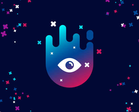 Eye simple icon. Look or Optical Vision sign. View or Watch symbol. Cool banner with icon. Abstract shape with gradient. Vector
