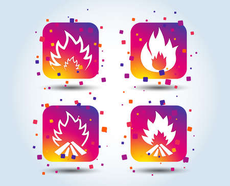 Fire flame icons. Heat symbols. Inflammable signs. Colour gradient square buttons. Flat design concept. Vector