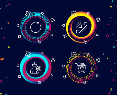 Set of Synchronize, Engineer and Stairs icons. Add products sign. Refresh or update, Worker with cogwheel, Stairway. Shopping cart.  Circle banners with line icons. Gradient colors shapes. Vector