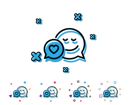 Comic speech bubble with Smile line icon. Chat emotion with heart sign. Line icon with geometric elements. Bright colourful design. Vector