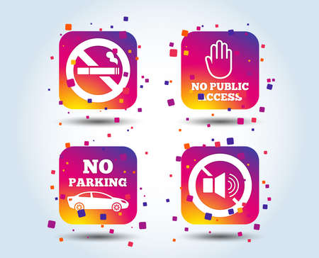 Stop smoking and no sound signs. Private territory parking or public access. Cigarette and hand symbol. Colour gradient square buttons. Flat design concept. Vector
